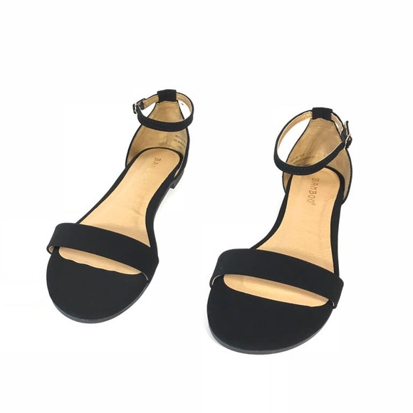 c4646312077 Bamboo Black Ankle Strap Flats Sandals